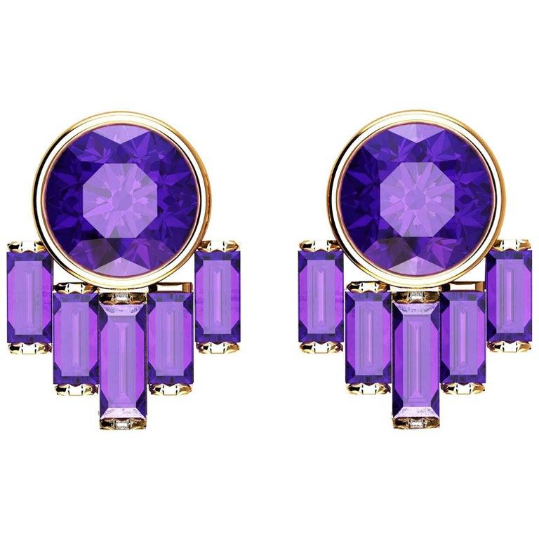 Ferrucci Natural Purple Amethyst in 18k yellog gold Art Deco earrings