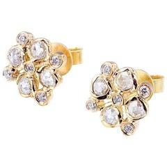 Maia 18 Karat Gold Rose-Cut Diamond Checker Cluster Stud Earrings