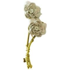 Tiffany & Co. Enameled Rose Brooch