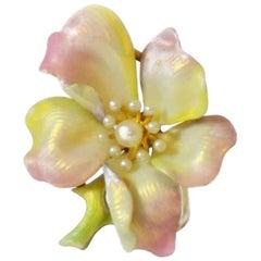 Enamel and Pearl Flower Brooch