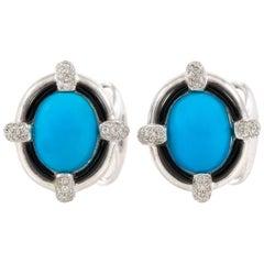 Turquoise and Diamond Cufflinks