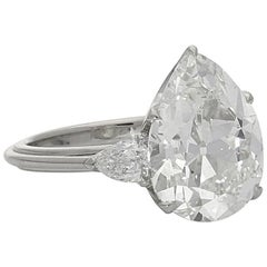 Hancocks 6.53 Carat Pear-Shaped Old-Mine Cut Diamond Ring