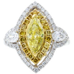 David Rosenberg .93 Carat FIY GIA Marquise Halo Three-Stone Diamond Ring