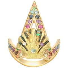 Venyx 18 Karat Gold Diamond Sapphire Colored Stone Naida Rainbow Ring