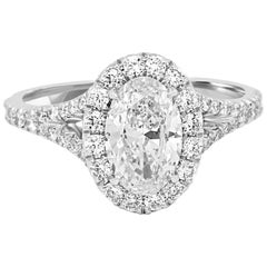 GIA Certified 1.12 Oval Diamond Halo Platinum Gold Engagement Ring