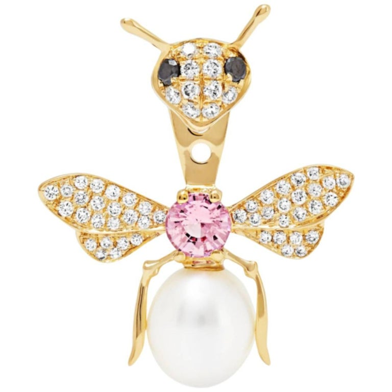 Yvonne Leon's stud and Ear-Jacket in 18K Gold with Diamonds and Pink Sapphire