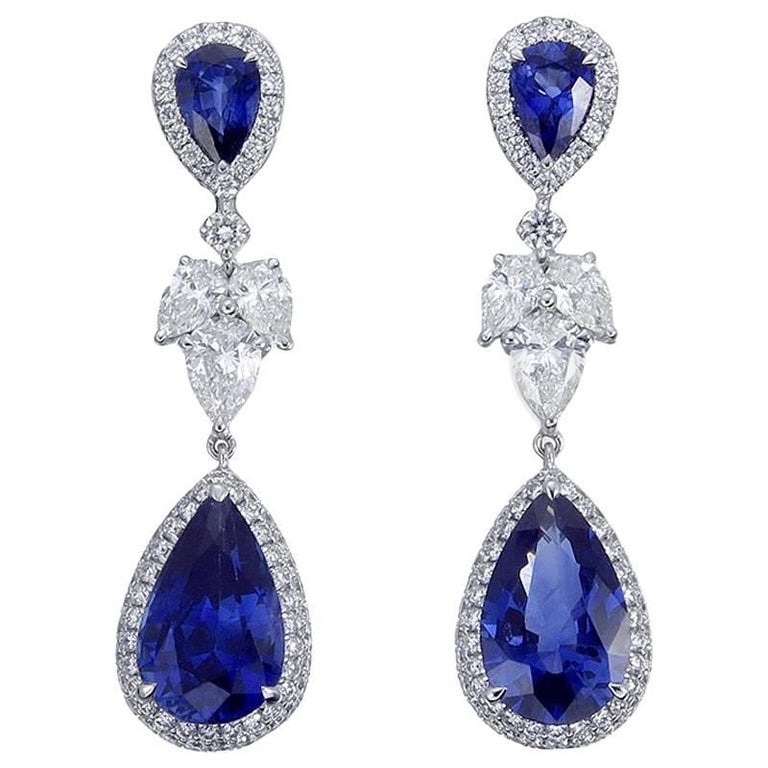7.79 Carat Pear Ceylon Blue Sapphire Diamond 18 Karat Gold Drop Earrings