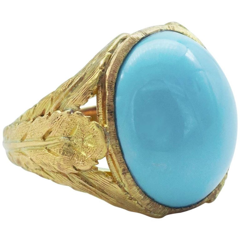 Turquoise and Gold Florentine Cocktail Ring