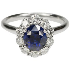 No Heat Sapphire and Diamond Gold Ring
