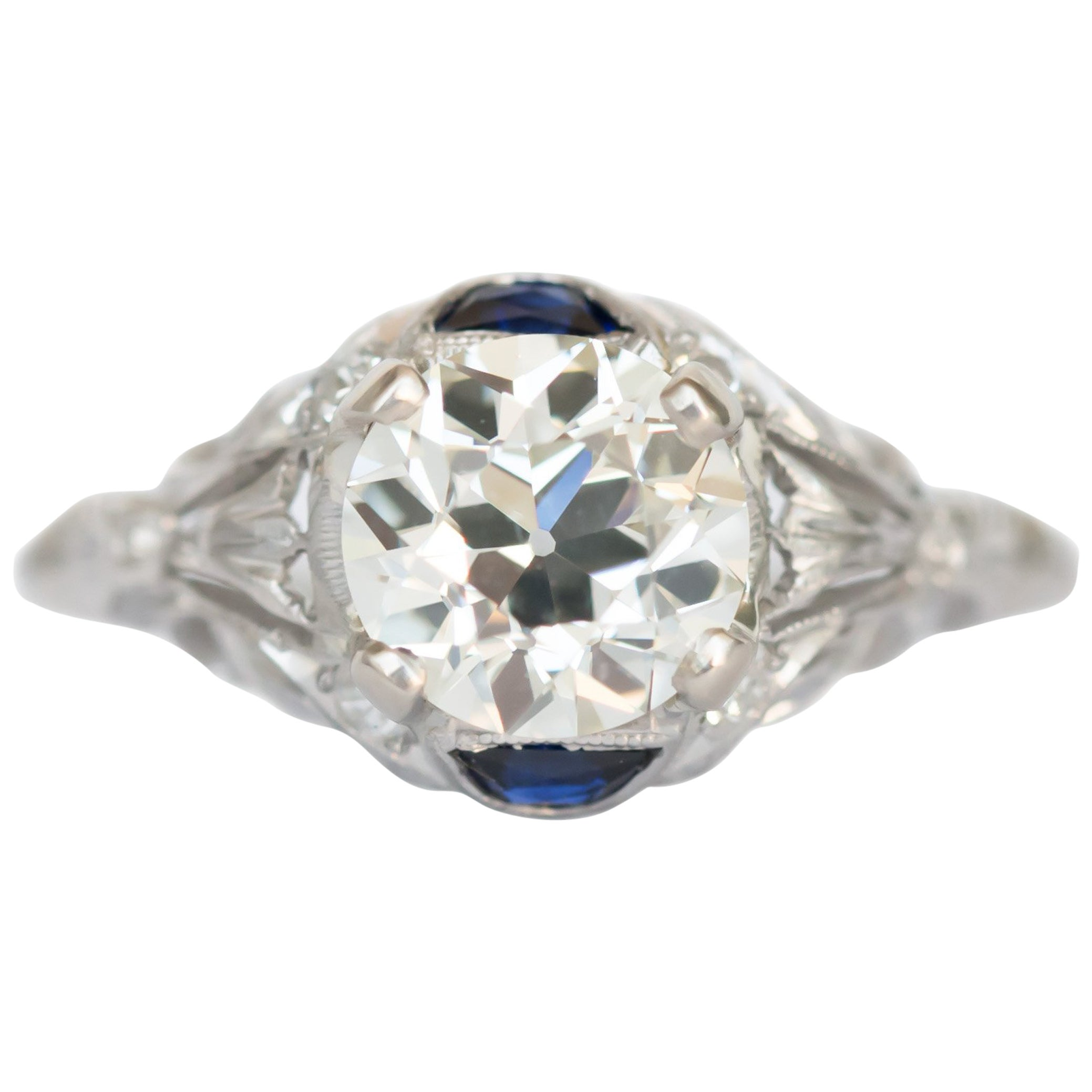 GIA Certified 1.20 Carat Diamond and Sapphire Platinum Engagement Ring