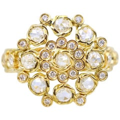 Aphrodite 18K Gold Rose Cut Diamond Cluster Cocktail Ring Size 7 In-Stock