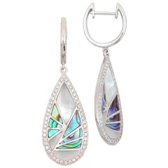 Frederic Sage 0.34 Carat Abalone and Diamond Drop Earrings