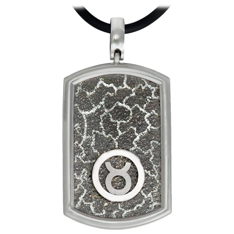 Taurus Zodiac Sterling Silver Platinum Tag Necklace on Cord One of a Kind