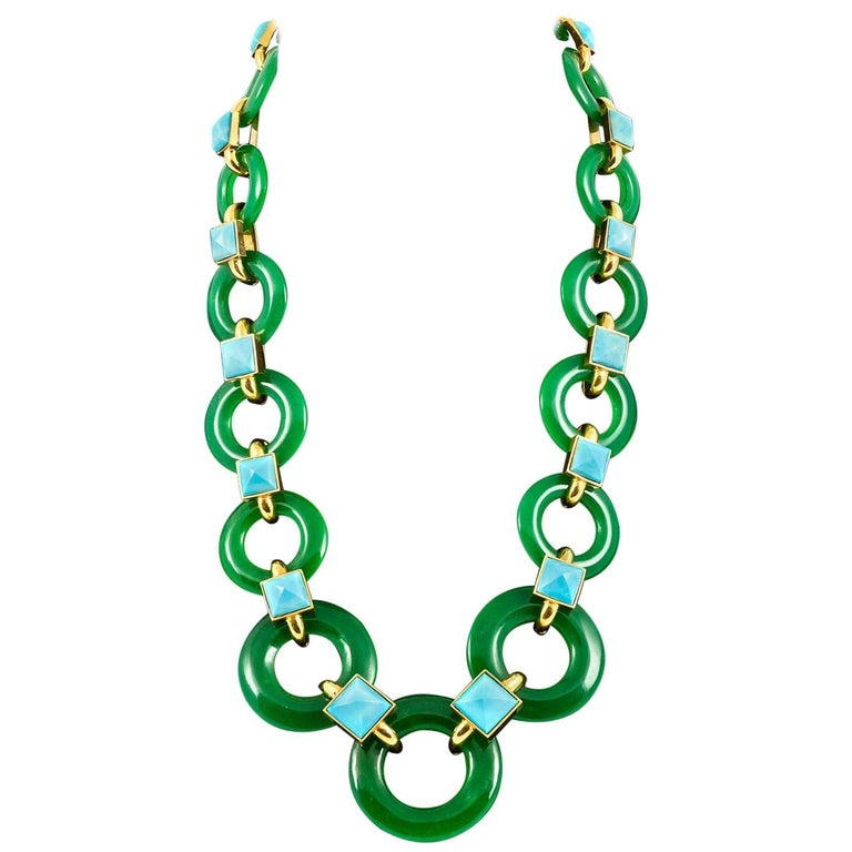1970s Aldo Cipullo Green Chalcedony and Turquoise Necklace
