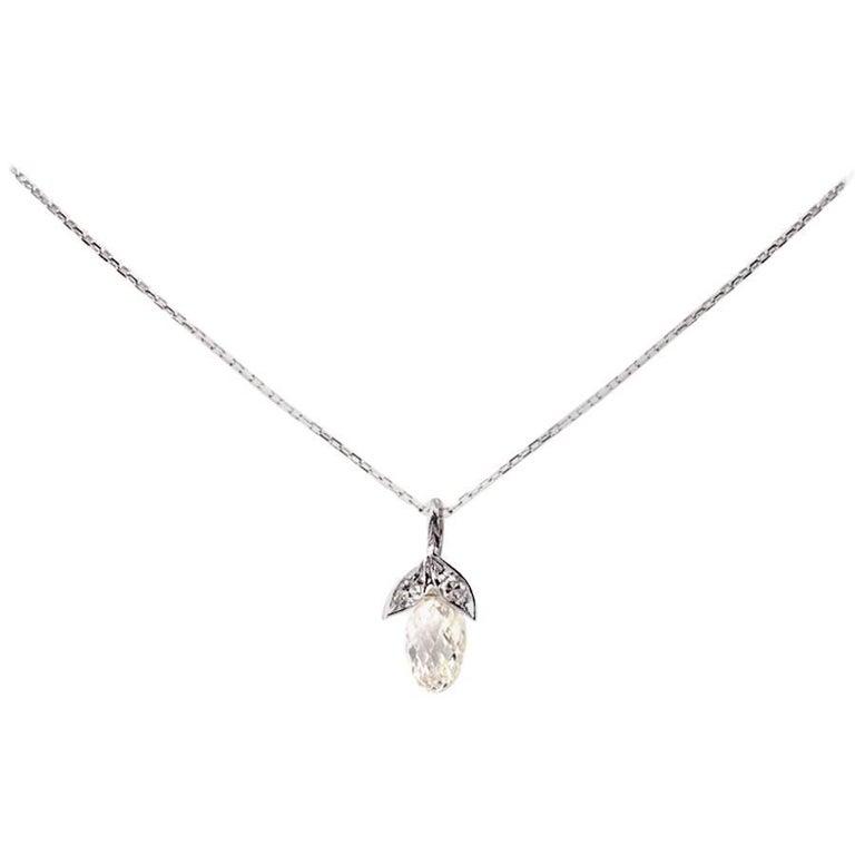 Vintage 2.49 Carat Briolette Diamond 18 Karat Gold Pendant Necklace