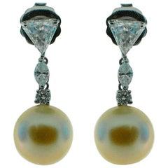 Golden South Sea Pearl and Diamond Earrings in 18 Karat Gold