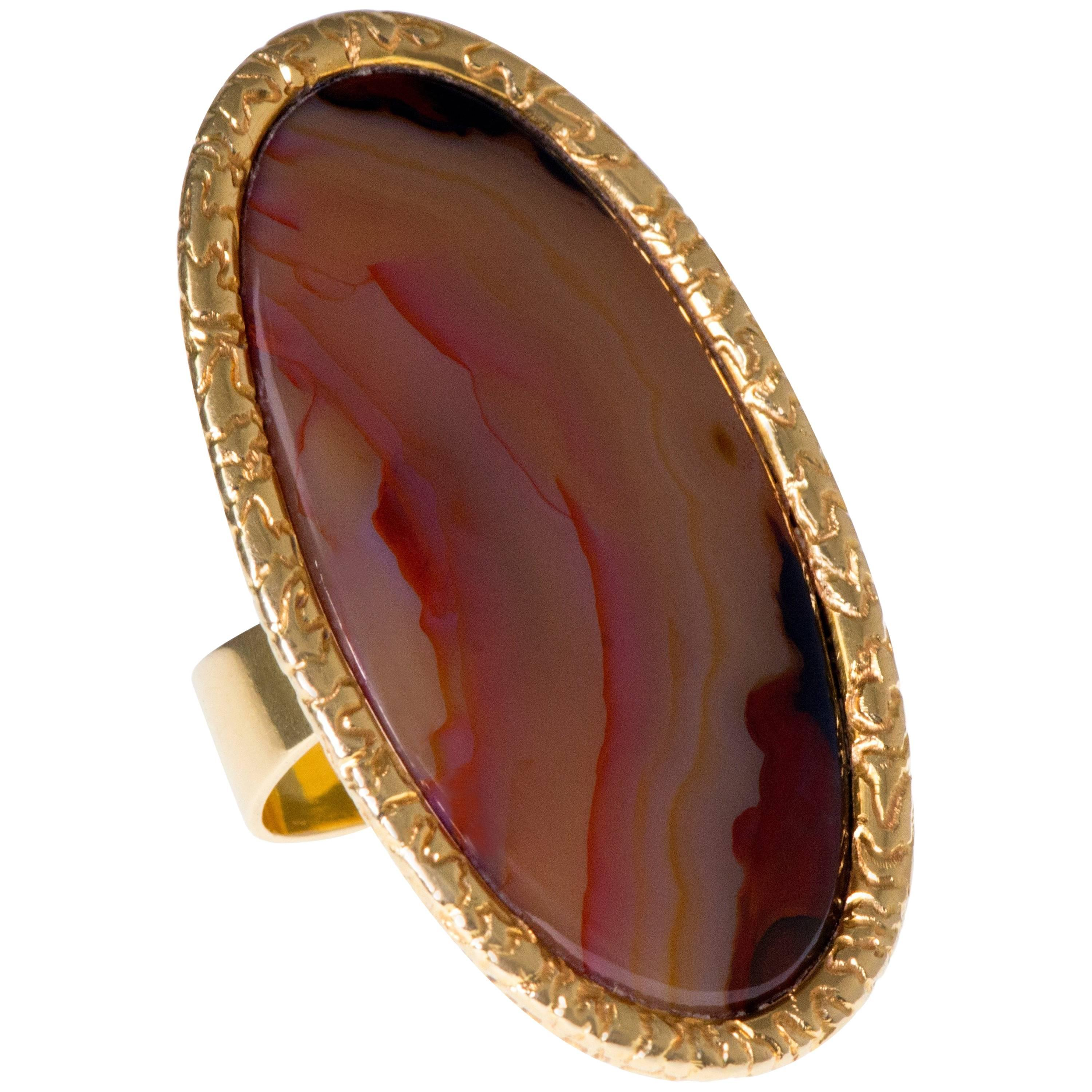 1972 Andrew Grima Agate and Gold Ring