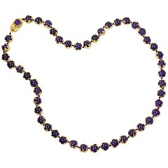 1982 Charles de Temple, Amethyst Bead and Gold Necklace