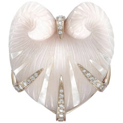 Venyx 18 Karat Gold Diamond Pink Chalcedony Moltke Ring