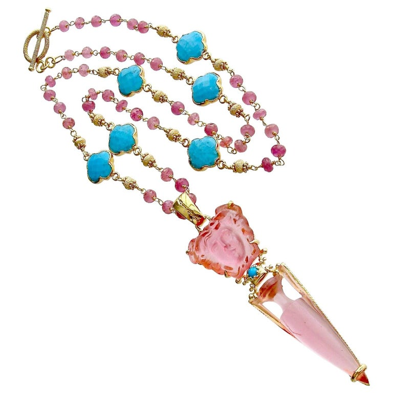 Venetian Glass Medusa Intaglio Cameo Pink Sapphire Turquoise Quatrefoil Necklace