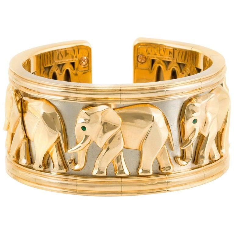 Cartier Walking Elephant Gold Cuff Bracelet