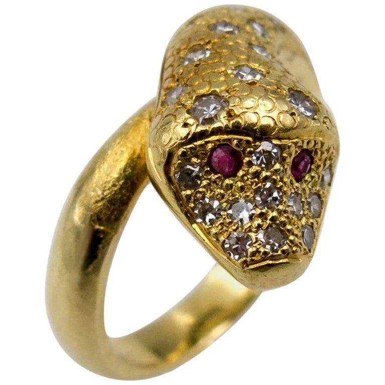 18 Karat Gold Ruby Diamond Snake Ring