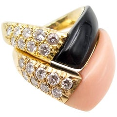 Van Cleef & Arpels Gold Diamond Coral Onyx Ring Suite