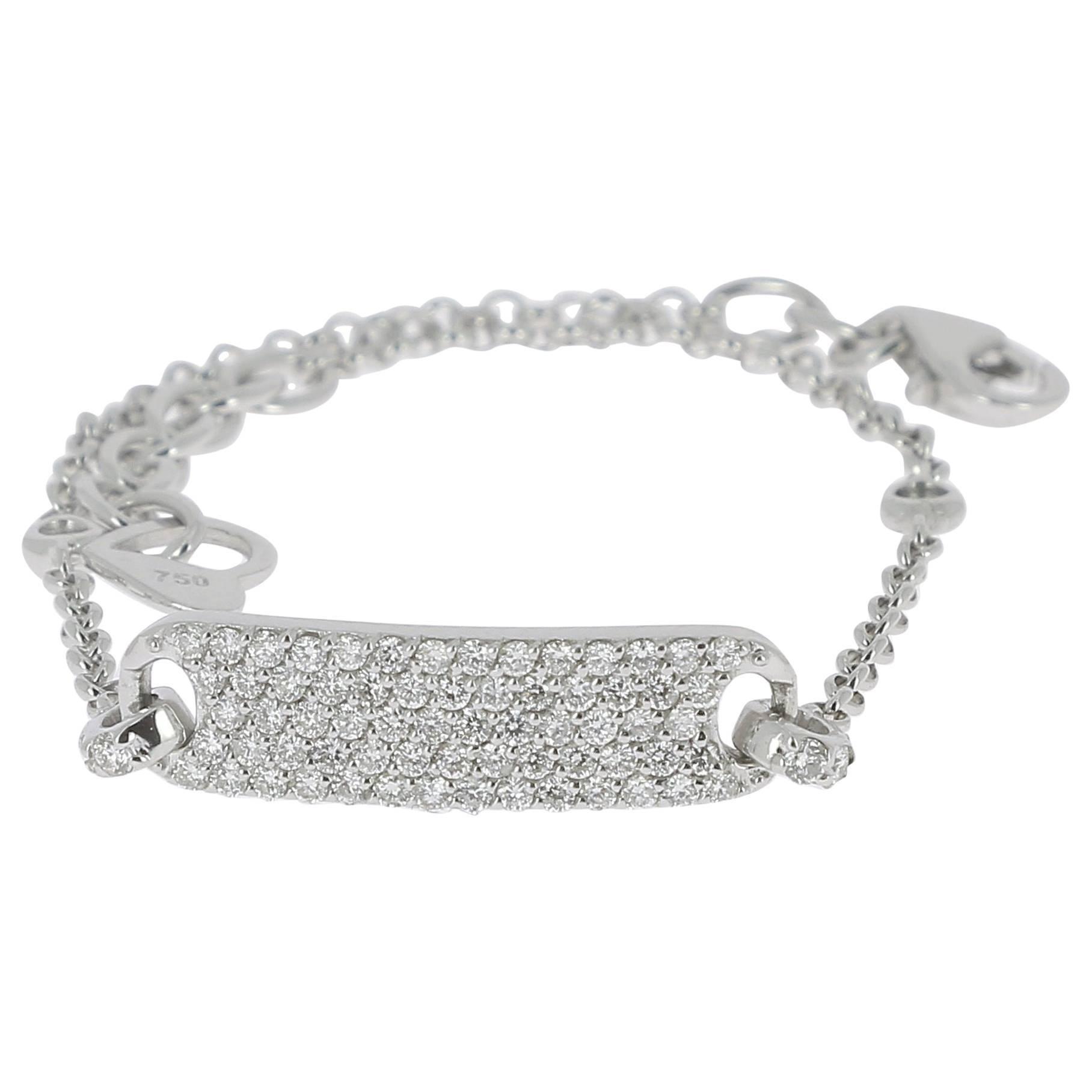 0.60 Carat GVS Round Diamonds Pave Bracelet /Chain Bracelet 18K White Gold