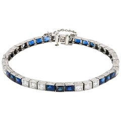 Art Deco Diamond and Natural Blue Sapphire Tennis Bracelet