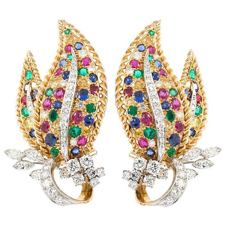 Oscar Heyman Leaf Earrings