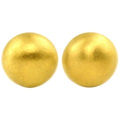Julius Cohen 24 Karat Handmade Gold Dome Earrings