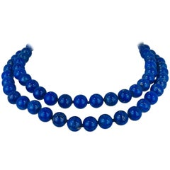 Contemporary, Hand-Knotted Lapis Lazuli Bead Necklace, 14 Karat Gold Clasp