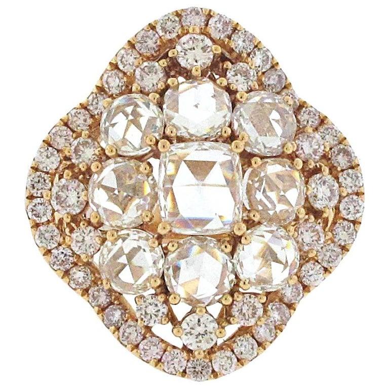 18 Karat Rose Gold Rose Cut Diamond Ring, over 5 Carat Total