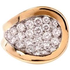 1970s Kutchinsky Diamond 18 Karat Yellow Gold Ring