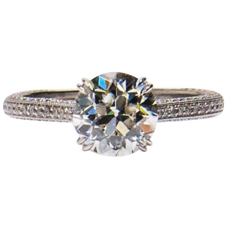 1.94 carat Old Euro cut Diamond Engagement Ring For Sale