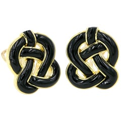 Tiffany & Co. Black Onyx and 18 Karat Yellow Gold Earrings