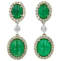 Cabochon Emerald and Diamond Earrings in 18 Karat Yellow Gold