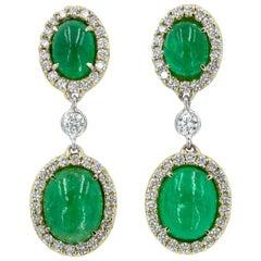 Cabochon Emerald and Diamond Earrings in 18 Karat Yellow Gold