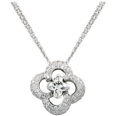 Clover Style Diamond Necklace with .88ct. Lili-cut Diamond Center