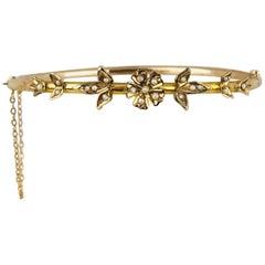 Victorian, Bangle Bracelet, Yellow Gold, Seed Pearl, Floral Motif, circa 1840