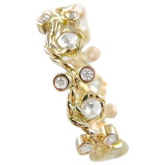 Vineyard 18k Gold Rose Cut Diamond Eternity Wavy Band Custom Made to Order