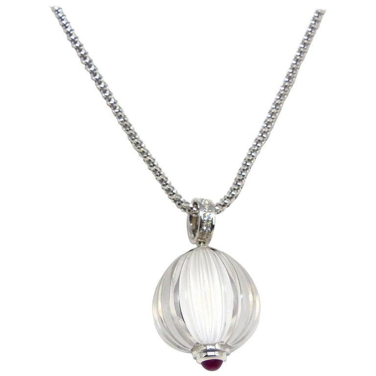 Fine Rock Crystal with Ruby and Diamonds 18 Karat White Gold Pendant