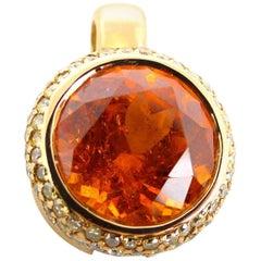 Fine Mandarine Garnet and Diamonds 18 Karat Rose Gold Pendant