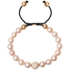 1.80 Carat Pink Fresh Water Pearl Pave Set Rose Gold Diamond Ball Bracelet