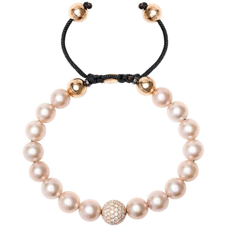 1.80 Carat Pink Fresh Water Pearl Pave Set Rose Gold Diamond Ball Bracelet