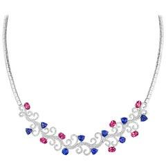 Tivon Diamond Tanzanite & Pink Tourmaline 18k White Gold Collier
