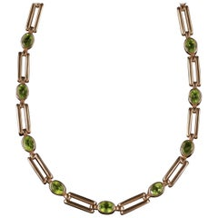 Antique Victorian Peridot Necklace 9 Carat Rose Gold, circa 1890