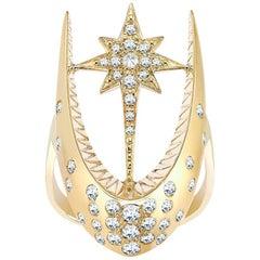 Venyx 18 Karat Yellow Gold Diamond Parrot Star Fish Ring