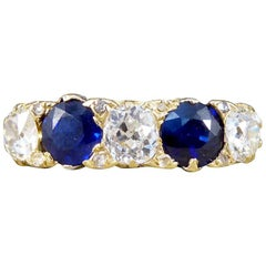Late Victorian Sapphire and Diamond Five-Stone 18 Carat Gold Ring