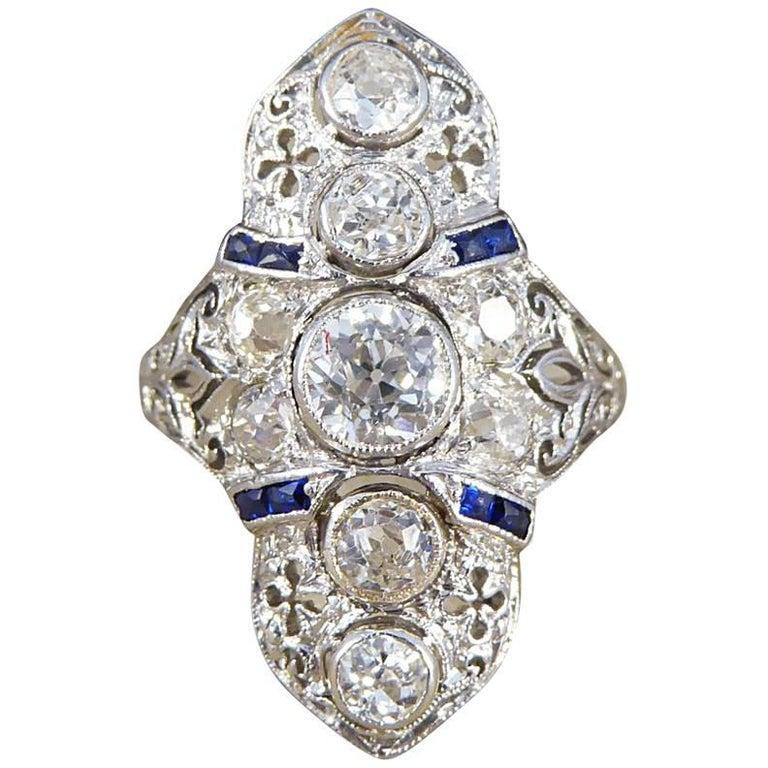 Art Deco Plaque Diamond and Sapphire 18 Carat Gold Ring